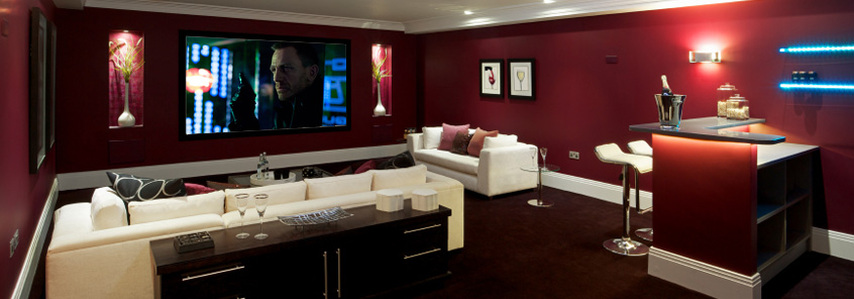 Home Theaters and Media Living Room Interiors